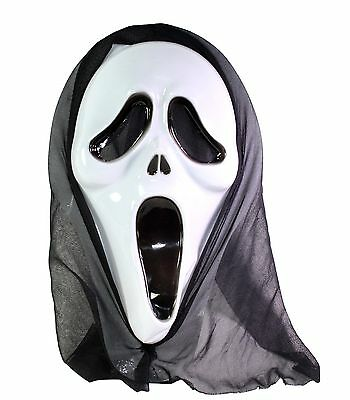 Scream White Ghost Face Mask Horror Halloween Costume GhostfaceCosplay Accessory (White Face Mask Costume)
