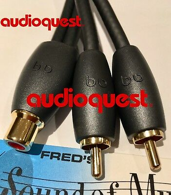 QUALITY NEW Audioquest RCA Y Splitter Cable Super Flex 2-Male 1-Female AQ best