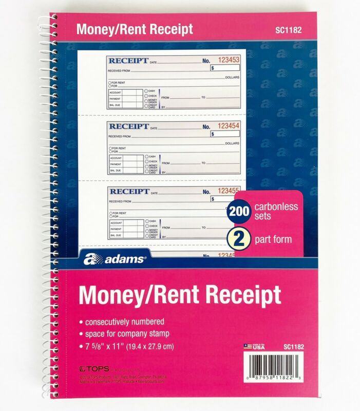 "Adams Money / Rent Receipt Book, 2-Part Carbonless, 7-5/8"" x 11"" Spiral 200 Sets"