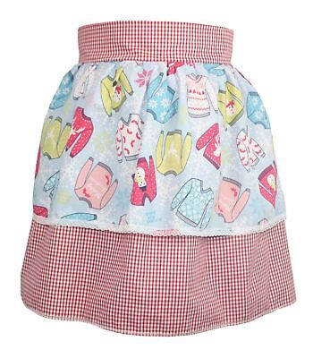Ladies Red Gingham Pinafore With X-Mas Jumper Apron Christmas Gift Idea (Costume Ideas Woman)