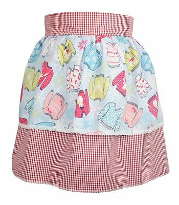 Ladies Red Gingham Pinafore With X-Mas Jumper Apron Christmas Gift Idea](Costume Ideas Woman)