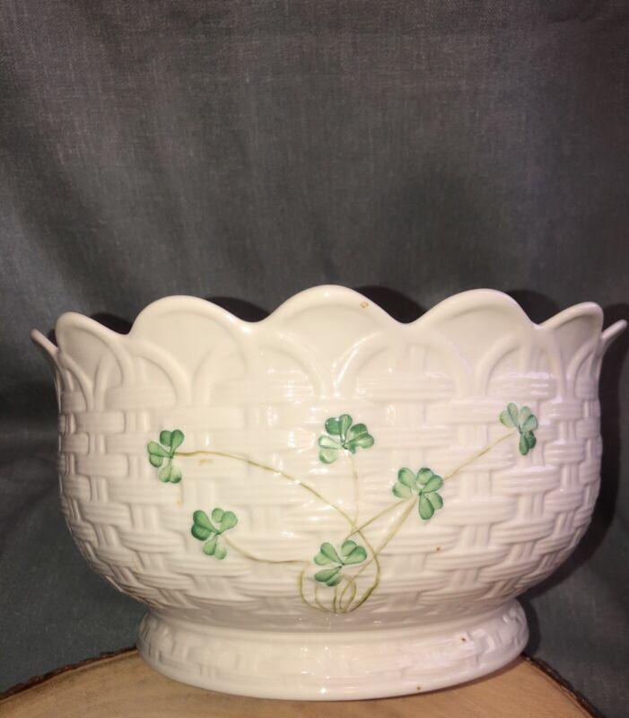 Antique BELLEEK SHAMROCK 9 in Centerpiece Bowl