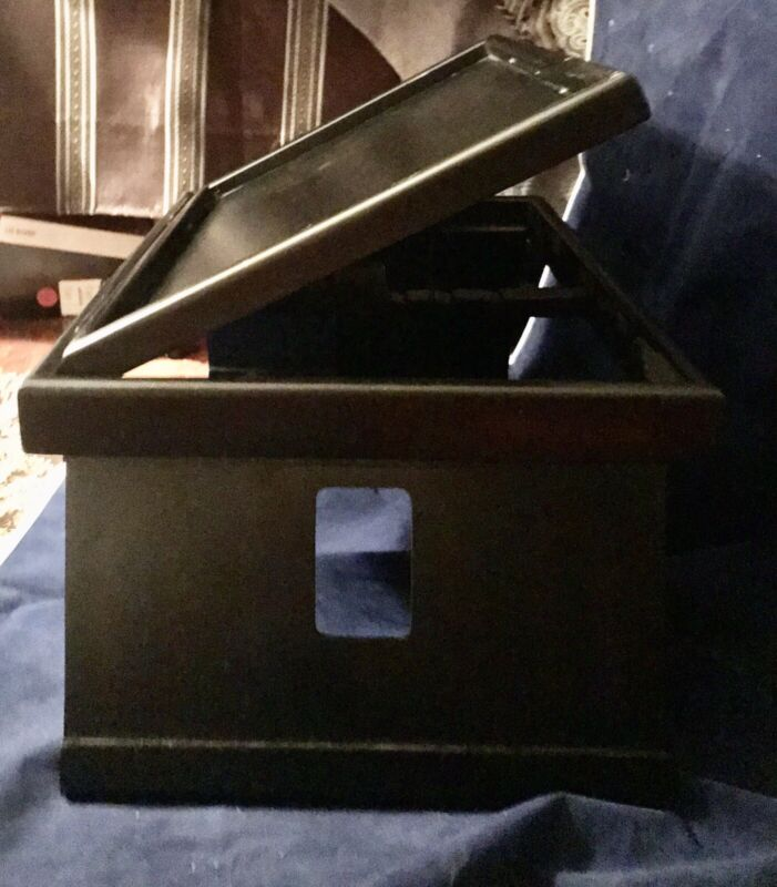 Vntg Wood Laptop/Reading Table Bed Tray Lap Desk Portable Folding Leg Dk Stain