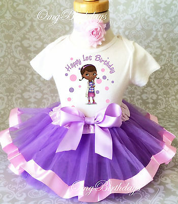 Doc Mcstuffins Birthday Outfit (Doc McStuffins Animal Dr Baby Girl 1st First Birthday Tutu Outfit Shirt)