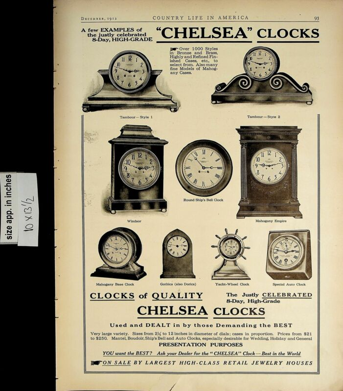 1912 Chelsea Clocks Quality Five Day High Grade Vintage Print Ad 5530