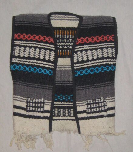 Vintage Serape Vest Biker Mexico Blanket Child Toddler Hippy Fringe Wool  small