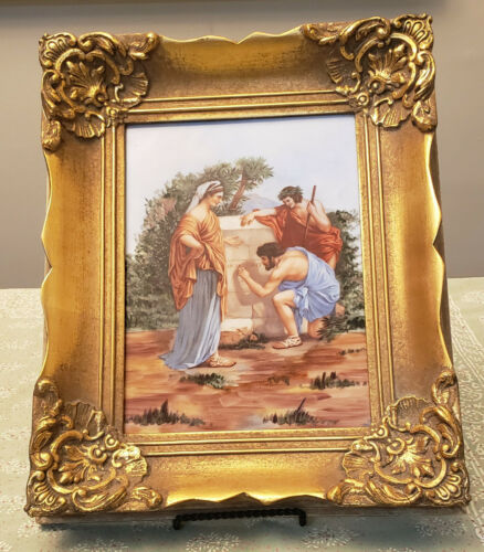 Heinrich Bavaria Hand Painted Porcelain Plaque Painting 20th Century Framed mint