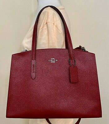 Coach Charlie Medium Red Pebble Leather Carryall Tote 25137