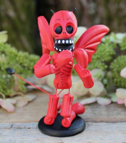 #2 Red Devil Wings Skeleton Day of the Dead Clay Handmade Puebla Mexico Folk Art