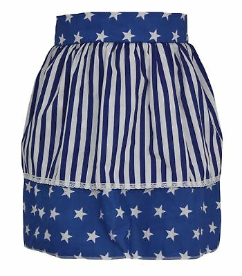 Ladies Blue Star Pinafore With White & Blue Stripe Apron Mothers Day Gift Idea - Blue Costume Ideas