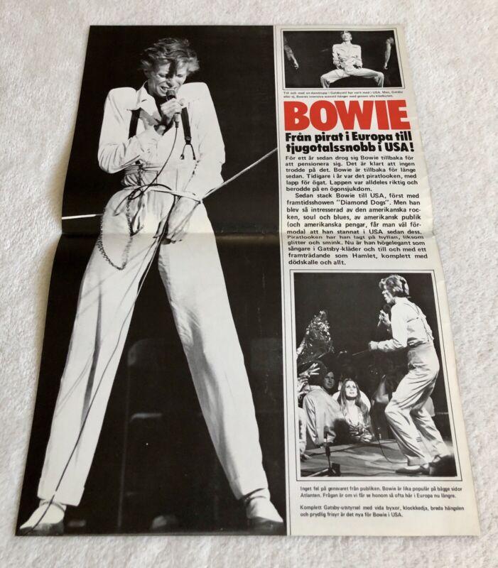 DAVID BOWIE 1974 Swedish Poster Magazine 1970s Rare Vintage