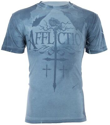 AFFLICTION Men T-Shirt CROWS NEST Cross BLUE WASH Motorcycle Biker UFC Jeans $58