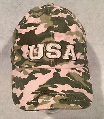 USA Camouflage Green Pink Women's Cap Adjustable Baseball Hat