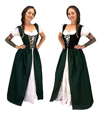RENAISSANCE MEDIEVAL CELTIC PRINCESS COSTUME BODICE CHEMISE IRISH OVER DRESS (Medieval Dress Green)