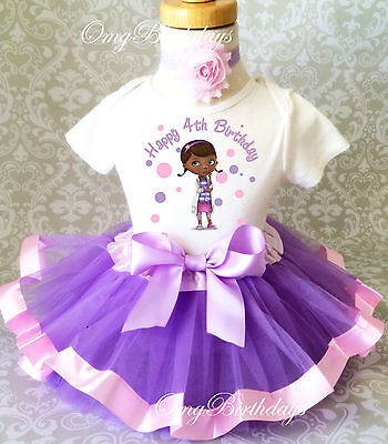 Doc McStuffins Animal Doctor Dr Girl 4th Birthday Tutu Outfit Shirt Set Party](Dr Mcstuffins Party)
