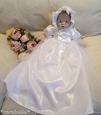 (2 Pcs Baby Long Traditional Tulle Satin WHITE Christening Dress+Bonnet 3-6-12m)