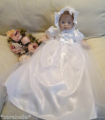 (2 Pcs Baby Long Traditional Tulle Satin WHITE Christening Dress+Bonnet 3-6-12m)