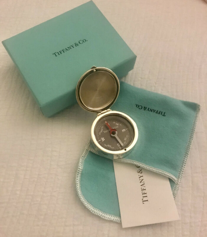 2001 Tiffany & Co. Sterling Silver Compass Compact - Engraved - Bank Of America