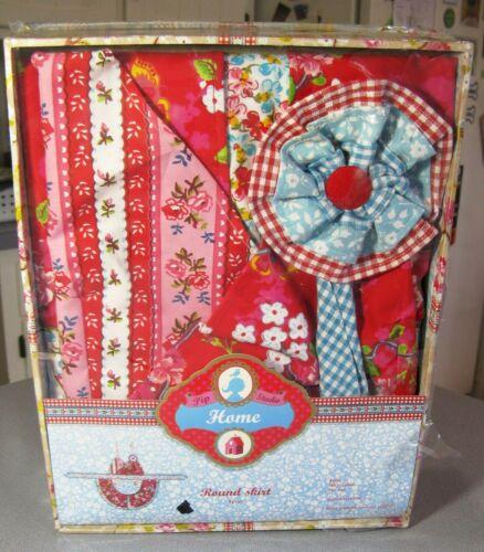 "Pip Studio NIB Designer Cotton APRON Red Aqua Checks Flowers 35""x35"" Gift Boxed"