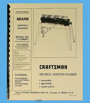 Sears Craftsman 6jointer 113.206801 113.206932 Operating Parts Manual 1122