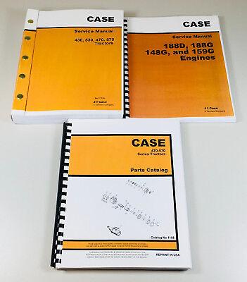 Case 470 570 Tractor Service 188d 188g 148g 159g Engine Manual Parts Catalog Set