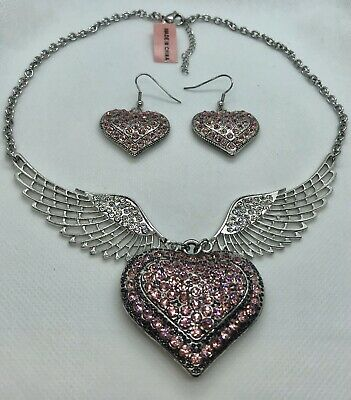 Pink Austrian Crystal Heart Angel Wings Necklace #642  Austrian Crystal Angel Necklace