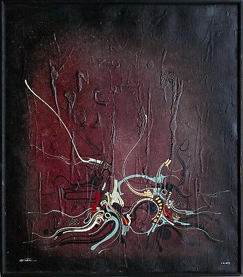Surreal vegetativ Abstraktion 1977 Deutschland Ölgemälde Leinwand signiert Cuel