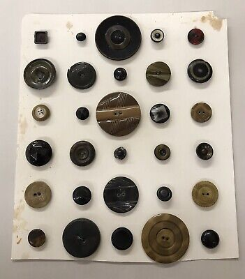Vintage Button Display Card - 30 Pieces Mostly Large Coat Buttons M12Lot Large 12 Piece Display