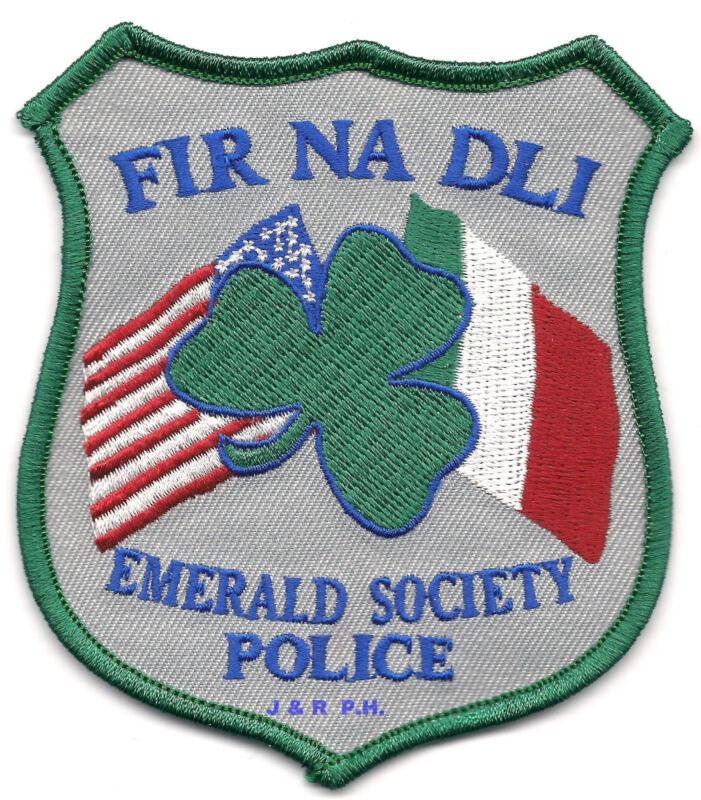 "Emerald Society - FIR NA DLI  (3.5"" x 4"" size)   shoulder police patch (fire)"
