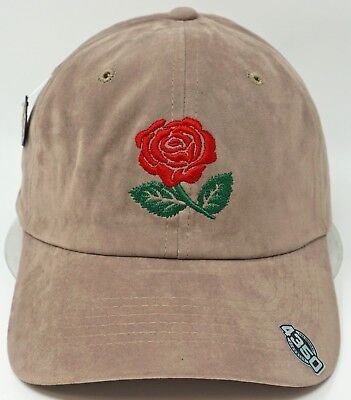 Red Rose Ball Cap 100% Cotton Adjustable Dad Hat Adult OSFM Stone Faux Suede NWT Cotton Suede Cap