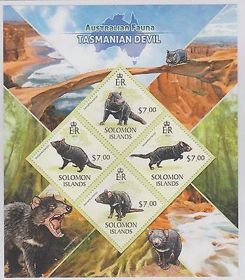 Solomon Islans Australian Fauna Tazmanian Devil 2 Stamp Sheets 2013 UM