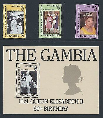 GAMBIA 1986 QUEEN'S 60TH BIRTHDAY SET AND MINIATURE SHEET UNMOUNTED MINT