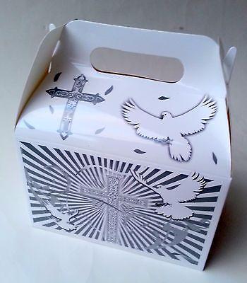 FIRST COMMUNION White Party Supplies BOXES Birthday BAPTISM GABLE x12 Religious  for sale  Pomona