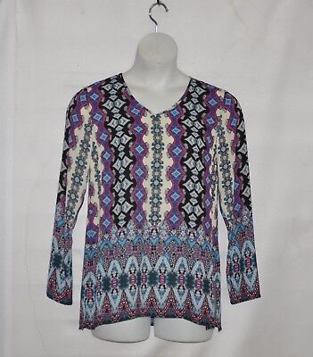 Linea by Louis Dell'Olio V-Neck Printed Pull Over Tunic Size S Alabaster Print