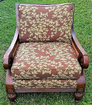 FAIRFIELD Chair Co NC Armchair Wood Wicker Woven Abaca Chinoiserie Palm Beach