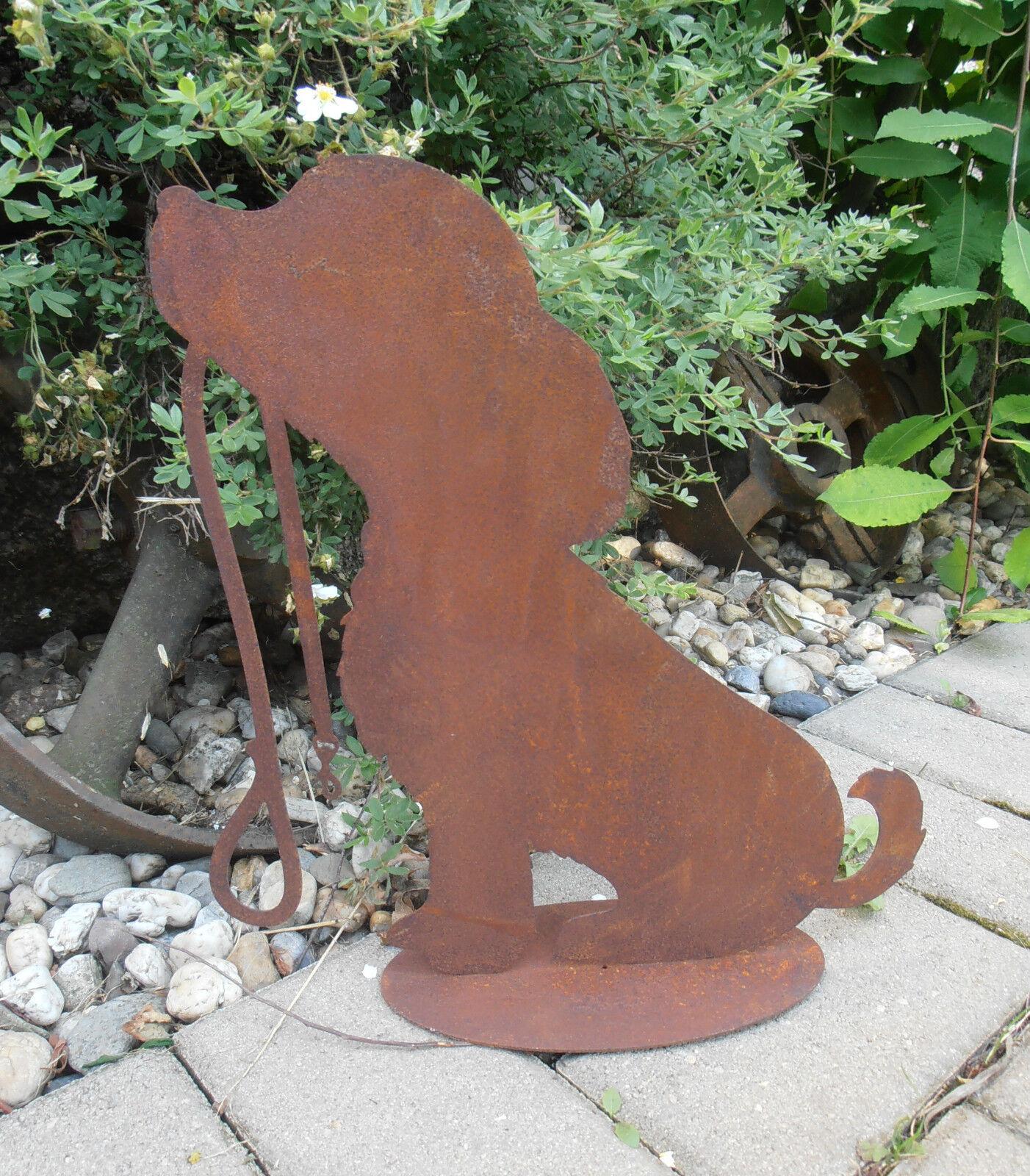 edelrost hund mit leine metall garten rost tierfigur. Black Bedroom Furniture Sets. Home Design Ideas