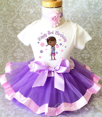 Doc McStuffins Animal Doctor Dr Girl 3rd Birthday Tutu Outfit Set Shirt Party](Dr Mcstuffins Party)