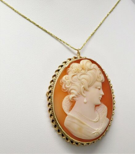 Portrait of Lady 14 kt Yellow Gold Oval Shell CAMEO Pin / Brooch / Pendant B2266