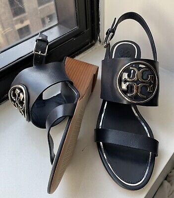 TORY BURCH Miller Metal - Logo Wedge Sandal Leather Navy  Sz 8 NEW WITHOUT Box