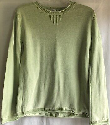 Coldwater Creek Womens Long Sleeve Solid Moss Green Sweater L