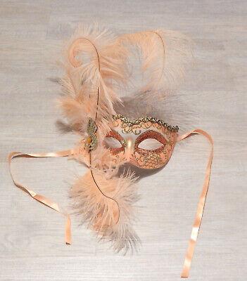 mit Federn Karneval Maskenball Fasching orange apricot gold (Venezianische Maske Federn)