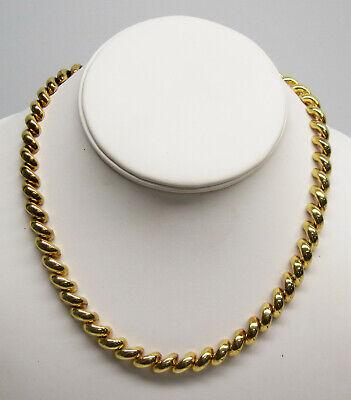 "Italian Gold Vermeil Sterling Silver SAN MARCO 16.5"" Long  Neckace 33.1 Grams"