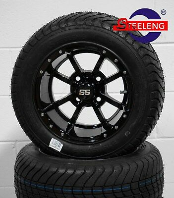 "GOLF CART 12"" BLACK STORM TROOPER WHEELS and 215/50-12 COMFORT RIDE DOT TIRES"