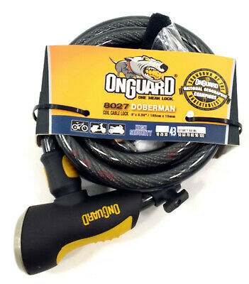 OnGuard 8027 Doberman Coil Cable Lock 6' x 15mm