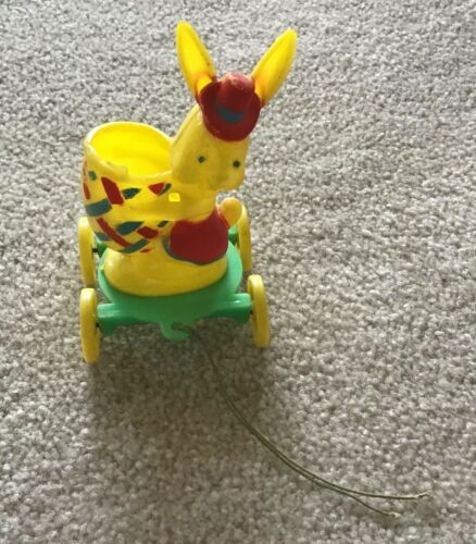 Vintage E. Rosen Easter Bunny Rabbit Plastic Candy Container Pull Toy