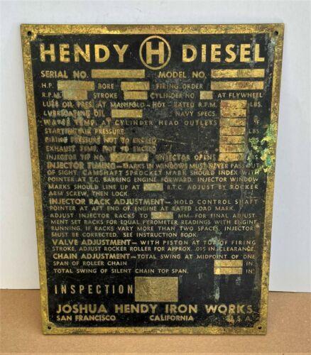 Antique JOSHUA HENDY IRON WORKS Diesel Engine Brass Plaque Sign San Francisco