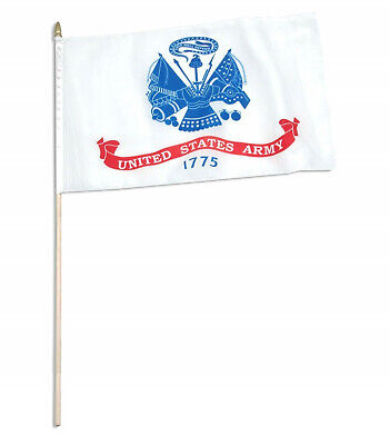 New 4  USA Flags 12 x 18 Wooden Staff