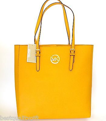 NEW MICHAEL KORS JET SET TRAVEL VINTAGE YELLOW LEATHER LARGE TOTE,HAND BAG,PURSE
