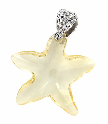 Star Fish Champagne Faceted Glass Pendant 1.25x1.0