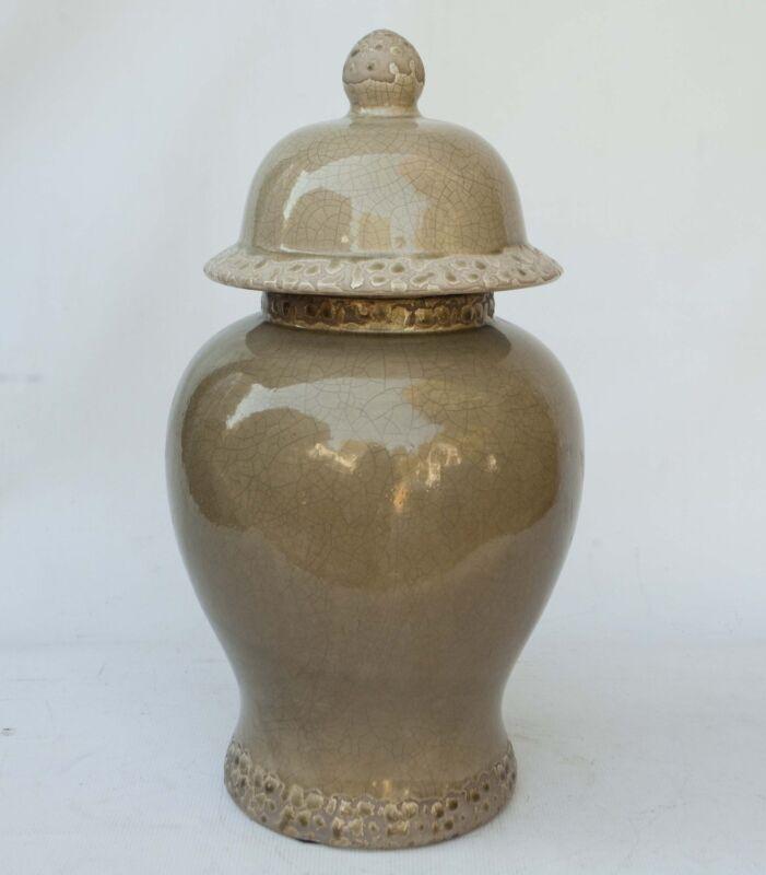"20"" T Vintage Chinese Porcelain GingerJar Moss Green monochrome Crackle Finish"